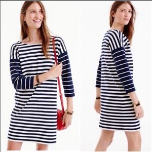 J Crew Color Block Blue/White stripe Ponte Dress